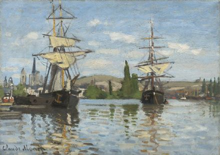Monet, Claude: Ships Riding on the Seine at Rouen. Fine Art Print.  (003559)